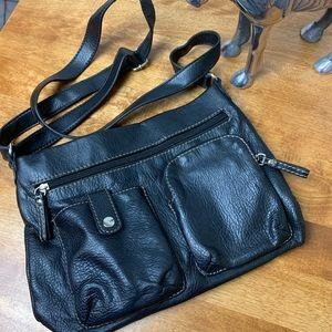 Relic Black Leather Crossbody/Shoulder Bag